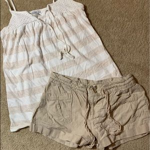 2 pc Outfit! Super cute tan & white Small